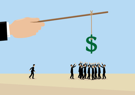 incentive: A large hand holds a Dollar symbol on a stick while employees flock around it. A metaphor on management, leadership, motivation and financial incentive. Illustration