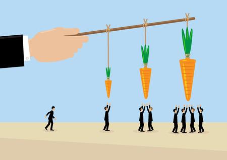 Una gran mano sostiene una zanahoria en un palo. Una metáfora sobre la gestión, incentivos y liderazgo.