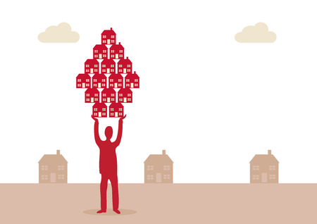 business metaphor: A vector illustration of a man holding up a group of houses to represent his propety business. A metaphor on property investment success. Illustration