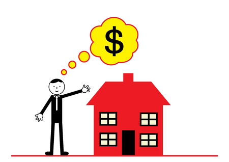 home prices: A vector illustration on American property and home prices. Illustration