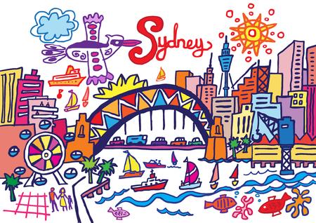 sydney australia: A cartoon style vector illustration of Sydney, Australia. Illustration