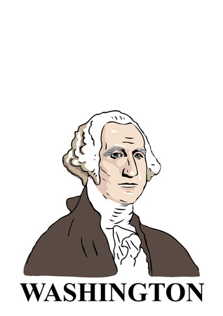 A hand drawn, cartoon style illustration of the first American president: George Washington.
