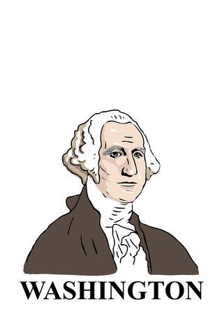 george washington: Una mano dibujada, estilo de dibujos animados ilustraci�n del primer presidente de Estados Unidos: George Washington.