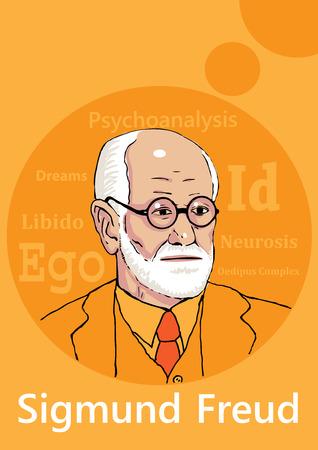 A hand drawn portrait of the psychoanalyist Sigmund Freud.