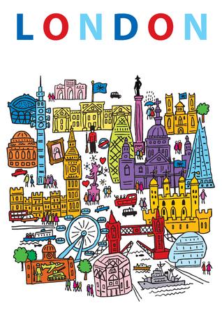 런던 시티, 잉글랜드, 그것의 랜드 마크 아키텍처의 일부의 손으로 그린 벡터 일러스트 레이 션.