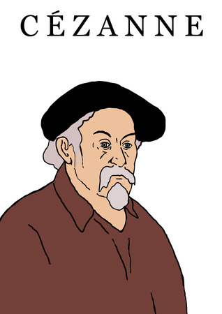 A portrait of the French Impressionist artist Paul Cezanne in his later years. 向量圖像