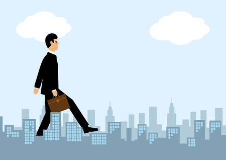 A giant businessman walks through a city. A metaphor on success in the city.