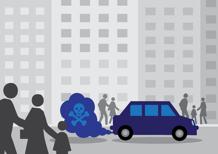 A diesel cars toxic exhaust fumes containing a by a skull and cross bones. Illustration