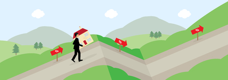 A vector illustration of a man carrying a house up a hill, following the percentage signs. A metphor on variable mortgage rates.