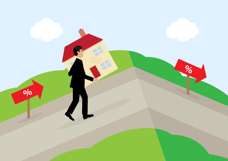 variable rate: A vector illustration of a man carrying a house up a hill, following the percentage signs. A metphor on variable mortgage rates.