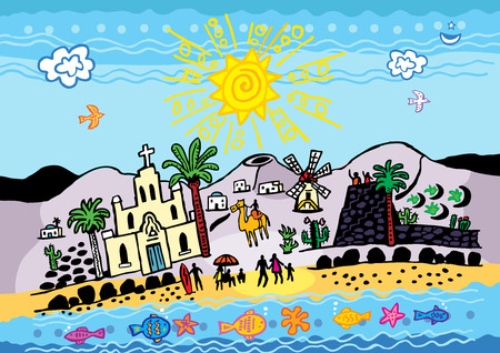 A vector illustration of a generic Canary Island off the north west coast of Africa. 向量圖像