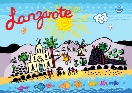 A vector illustration of Lanzarote in the Canary Islands.