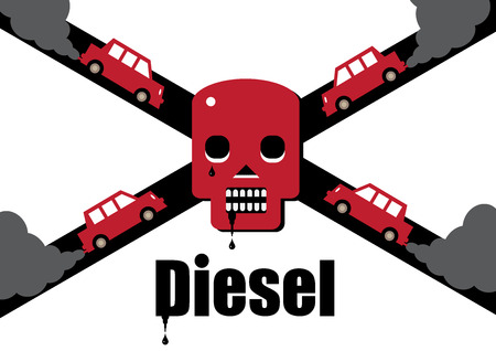 A diesel cars toxic exhaust fumes forming a skull and cross bones, symbolising the dangers of the fuel.