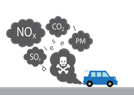 A graphic illustration of the main diesel exhaust pollutants from a car. 向量圖像