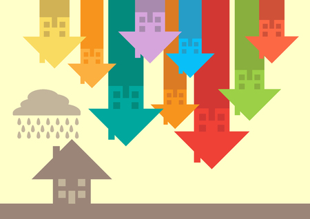 Arrows in the form of houses pointing down, a metaphor on a house price downturn.