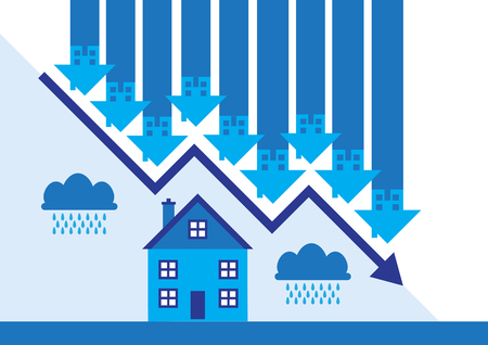 Downward arrows and rain clouds a metaphor on a property market slump. 向量圖像