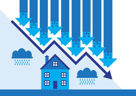 Downward arrows and rain clouds a metaphor on a property market slump. Illustration