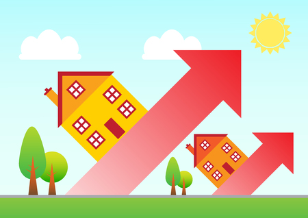 Houses rising up on red arrows from the landscape. A metaphor on a rising housing market.