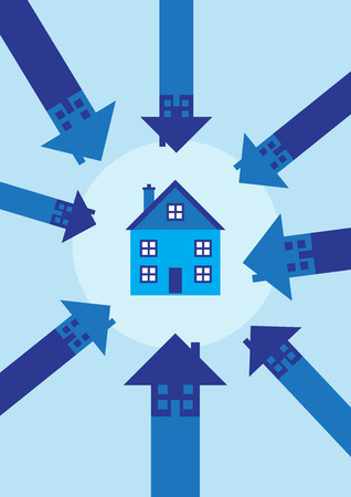 A house surrounded and put in focus by pointing arrows. A vector illustration on the property market.