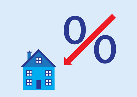 A vector illustration of the percentage slash turned into an arrow pointing down at a house.