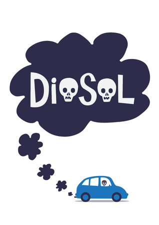 A diesel cars toxic exhaust fumes with the word diesel containing skulls. An illustration of the toxic effects of diesel exhaust gas. 向量圖像