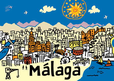 A hand drawn vector illustration of Malaga city in southern spain.