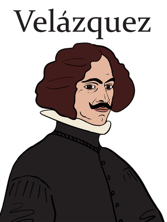 A hand drawn vector illustration of the Spanish Baroque artist, Diego Velazquez.
