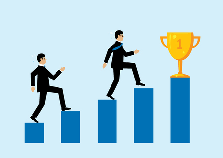 A vector illustration depicting two business men running up a blue bar chart to reach a gold trophy. A metaphor on business success.