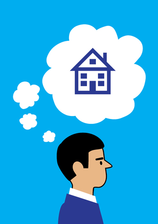 A vector illustration of a man thinking about a house, thought bubbles coming from his head with one large bubble containing the house.