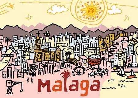 スペイン南部のマラガ市の手描きベクターイラスト。  イラスト・ベクター素材