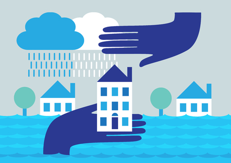 A vector illustration of homes being flooded with a hand lifting a house out of water and one above it to symbolize protection. Archivio Fotografico - 127497258