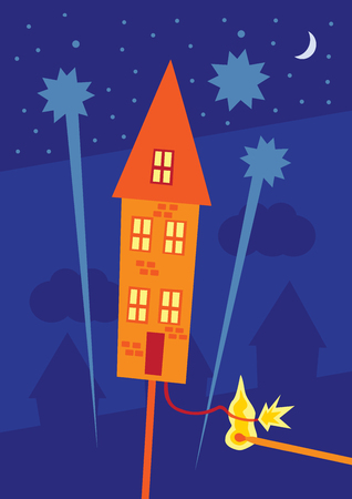 A vector illustration of a rocket firework in the form of a house with the touch paper being lit ready for take off. A metaphor on property market increases.