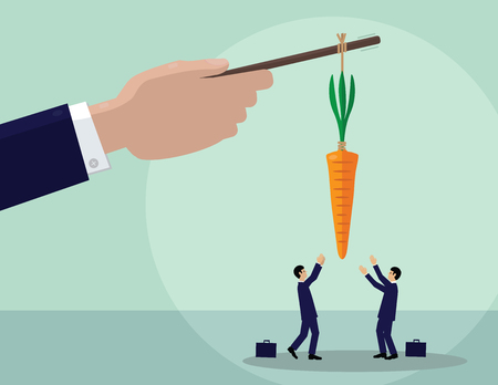 A large hand holds a carrot on a stick and two men try to get it. A metaphor on incentives, management and leadership. 向量圖像