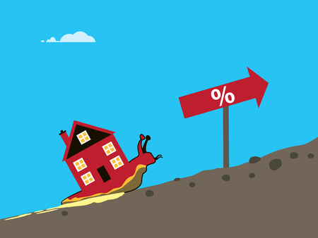 A vector illustration of a snail with a house on its back slowly going up hill. A metaphor on a sluggish house market.