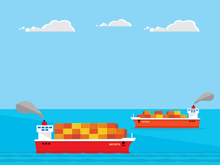 container ships, one full and one almost empty. Representing a trade imbalance between a countries imports and exports. Illustration