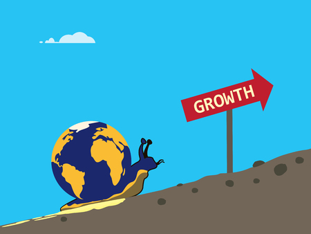 A vector metaphor on global growth slowing. A snail is with a globe on its back slowly goes up a bumpy hill
