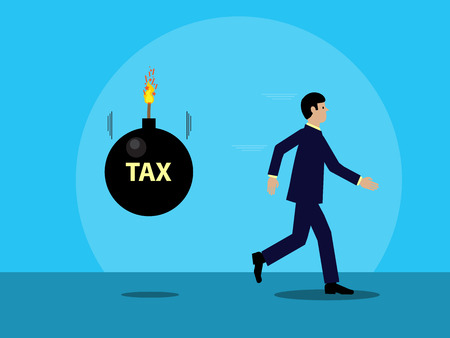 A vector illustration of a businessman running from a cartoon bomb, with the word TAX written on it that is about to explode. A visual metaphor on tax and business. Archivio Fotografico - 125576824