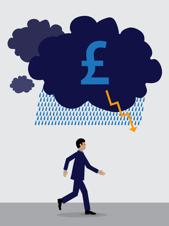 storm cloud with a Sterling symbol over a businessman who is running away from it.  A visual metaphor on Sterlings financial performance.