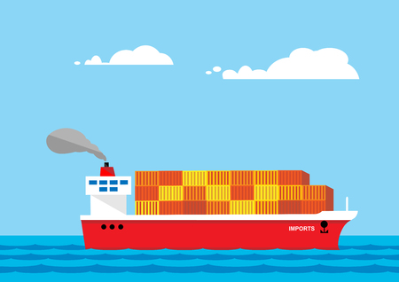 A metaphor on import and export imbalance. A vector illustration of a fully loaded container ship to illustrate an imbalance in import and export markets.