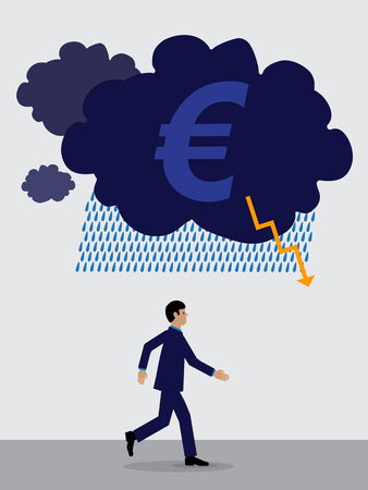storm cloud with a Euro symbol over a businessman who is running away from it.  A visual metaphor on the Euro's financial performance.