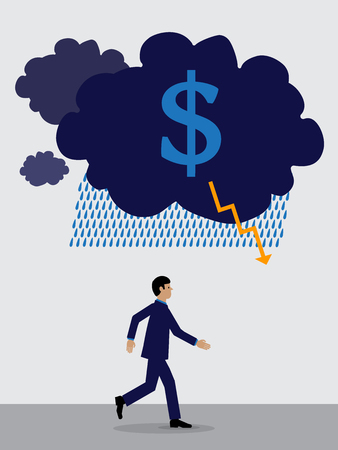 storm cloud with a Dollar symbol over a businessman who is running away from it.  A visual metaphor on the Dollars financial performance. Ilustrace