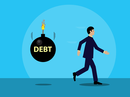 businessman running from a cartoon bomb, with the word DEBT written on it that is about to explode. A visual metaphor on debt and business. Illustration
