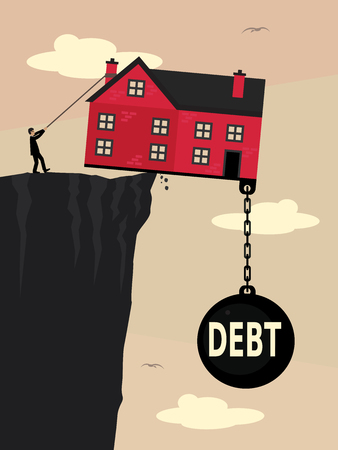 A house on a the edge of a cliff, weighed down with a large weight with Debt written on it and a man pulling a rope to try to stop it falling. A vector illustration metaphor about property debt. Ilustração