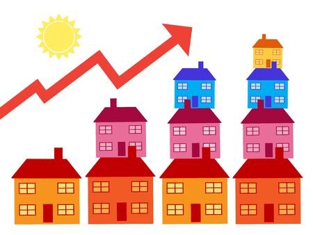 A rising stack of houses with an up arrow to indicate property related increases. A vector illustration and metaphor on property.