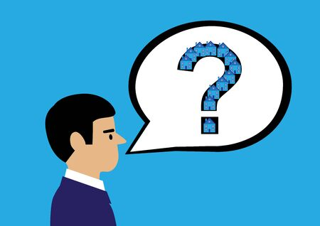 A vector illustration of a man with a speech bubble with a question mark and houses on it to indicate property related questions.