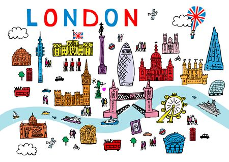 A hand drawn vector illustration of London City in England.