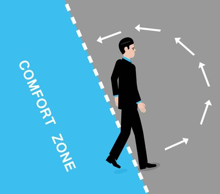 A vector illustration of a man leaving his comfort zone and arrows in the grey area indicating his instinct is to go back to it. Banque d'images - 131816407