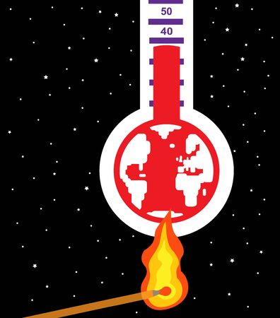 A large flame from a match heating a thermometer with a simplified earth in the mercury. A metaphor on global warming.