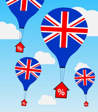 A metaphor for upward UK interest rates. Using hot air ballons in UK flag colours carring a rising intrest rate arrows to illustrate this. 向量圖像