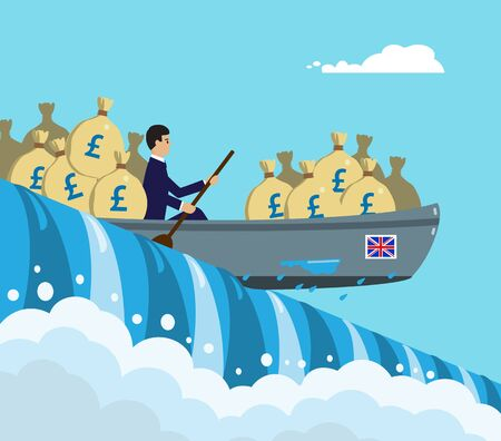 A kayak full of Sterling money about to go over the edge of a waterfall, a metaphor on the UK currency, economy and risk. A vector illustration.